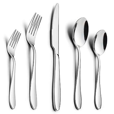 60-Piece Silverware Set, HaWare Stainless Steel Modern Flatware Cutlery Set, Elegant Tableware Set for 12, Dinner Knives/Spoons/Forks, Mirror Polished, Dishwasher Safe