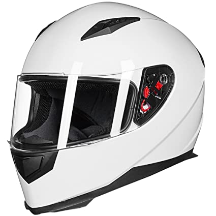 edeaebd6 Amazon.com: ILM Full Face Motorcycle Street Bike Helmet with Removable  Winter Neck Scarf + 2 Visors DOT (L, White): Automotive