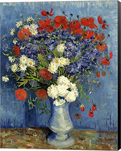 (Still Life: Vase with Cornflowers and Poppies, 1887 by Vincent Van Gogh Canvas Art Wall Picture, Museum Wrapped with Black Sides, 22 x 28 inches)