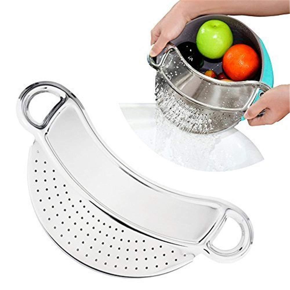YOMRIC Colador de comida con clip, colador de acero, colador ...