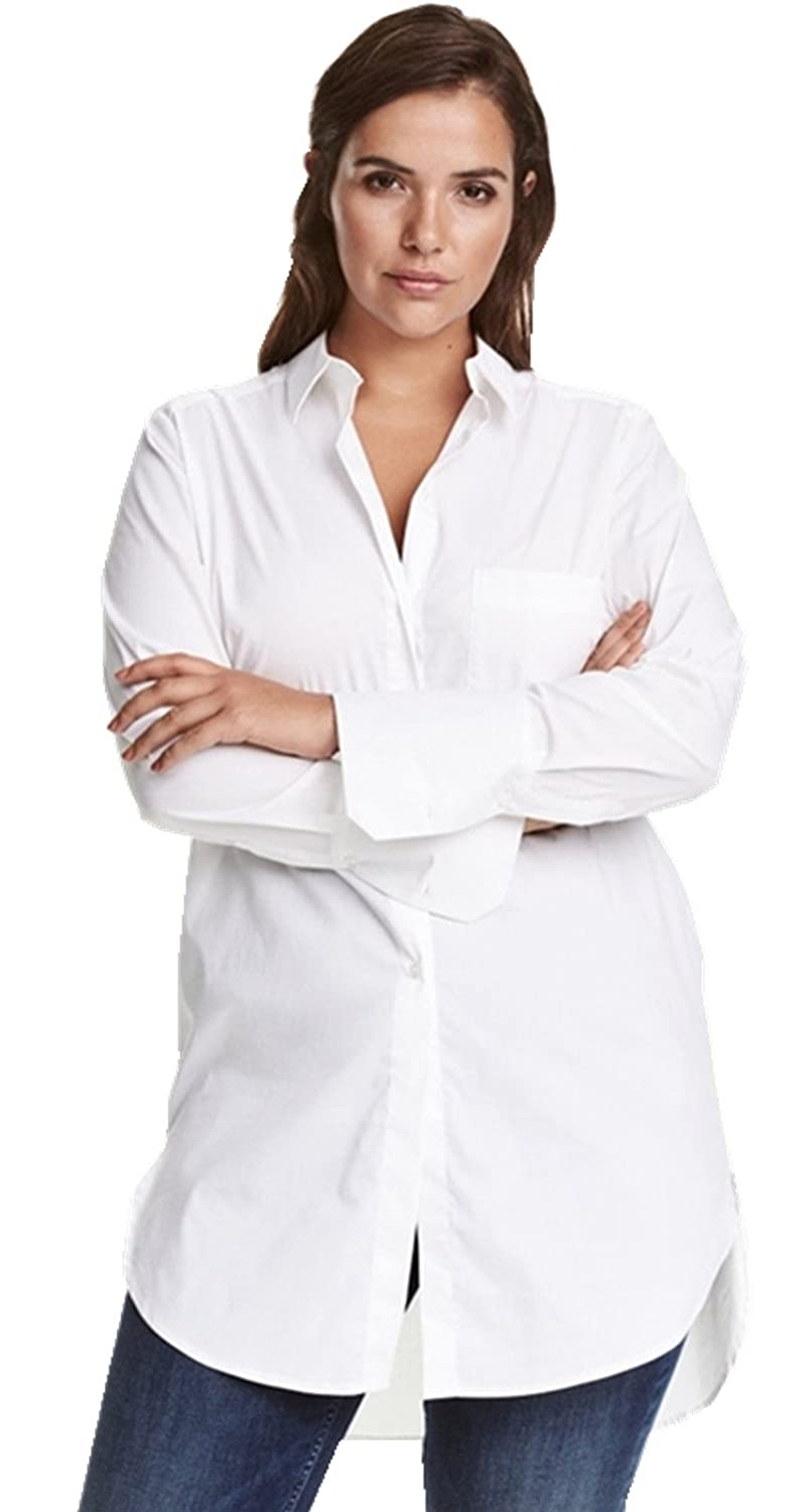 Plus Size Pocket Button Front Curved Hem Long Sleeve Blouse Shirt Top White