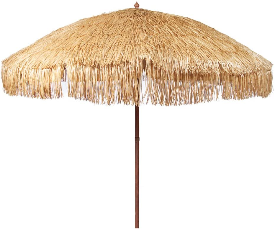 Bayside21 8 Hula Thatched Tiki Umbrella Natural Color