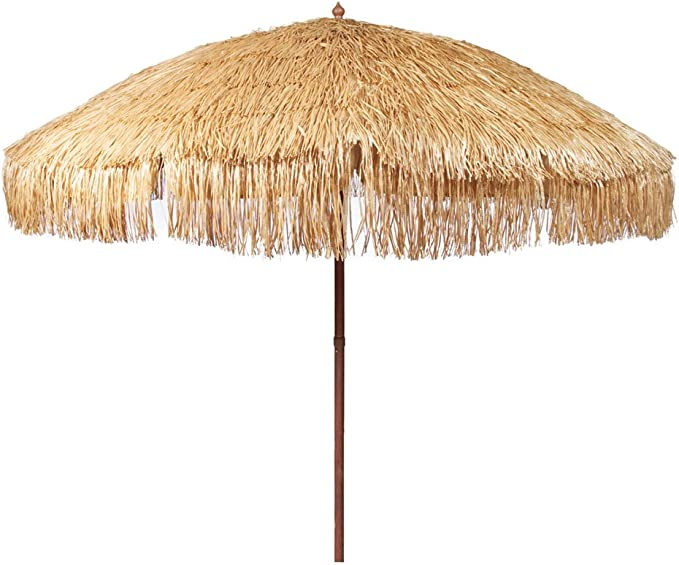 Bayside21 Hula Thatched Tiki Umbrella Natural Color 6' 8' & 9' Options (8ft, Natural)
