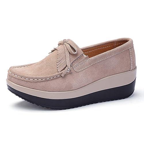 e9a27334a277e Amazon.com | Bonrise Womens Slip On Loafers Shoes Wide Width Bow ...