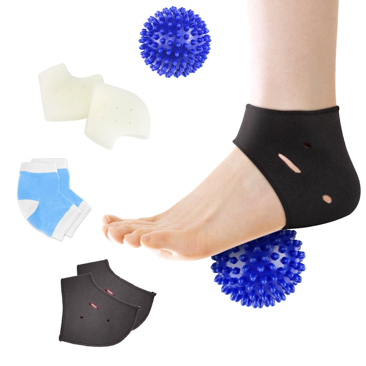 HLYOON H07 Plantar Fasciitis Kit-7PCS Plantar Fasciitis Sleeve Ankle Brace, Heel Support, Socks, Foot Massage Ball for Metatarsal Pain,Foot Arch Support,Relieve Foot Pain