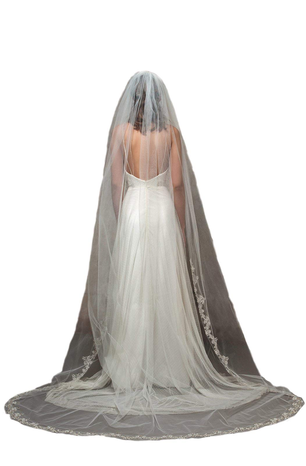 Passat Pale Ivory Single-Tier 45''Embroidered Floral Silver Gold Lace With Rhinestone Fingertip Wedding Bridal Veil DB131