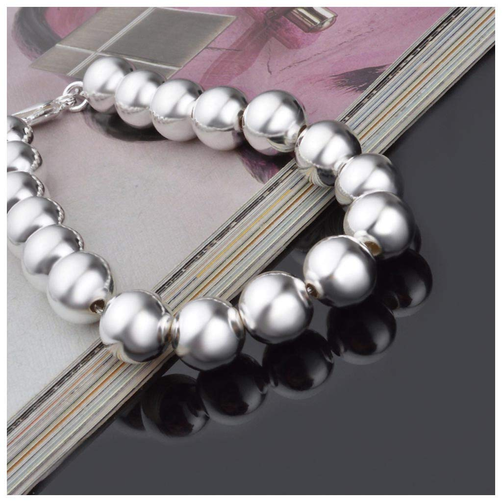 LLguz Bracelets,Plated 925 Sterling Silver Round Beads Strand Bracelet All-Match Bangle Hand Chain Wristband Jewelry Accessories for Lady Women Men Silver B