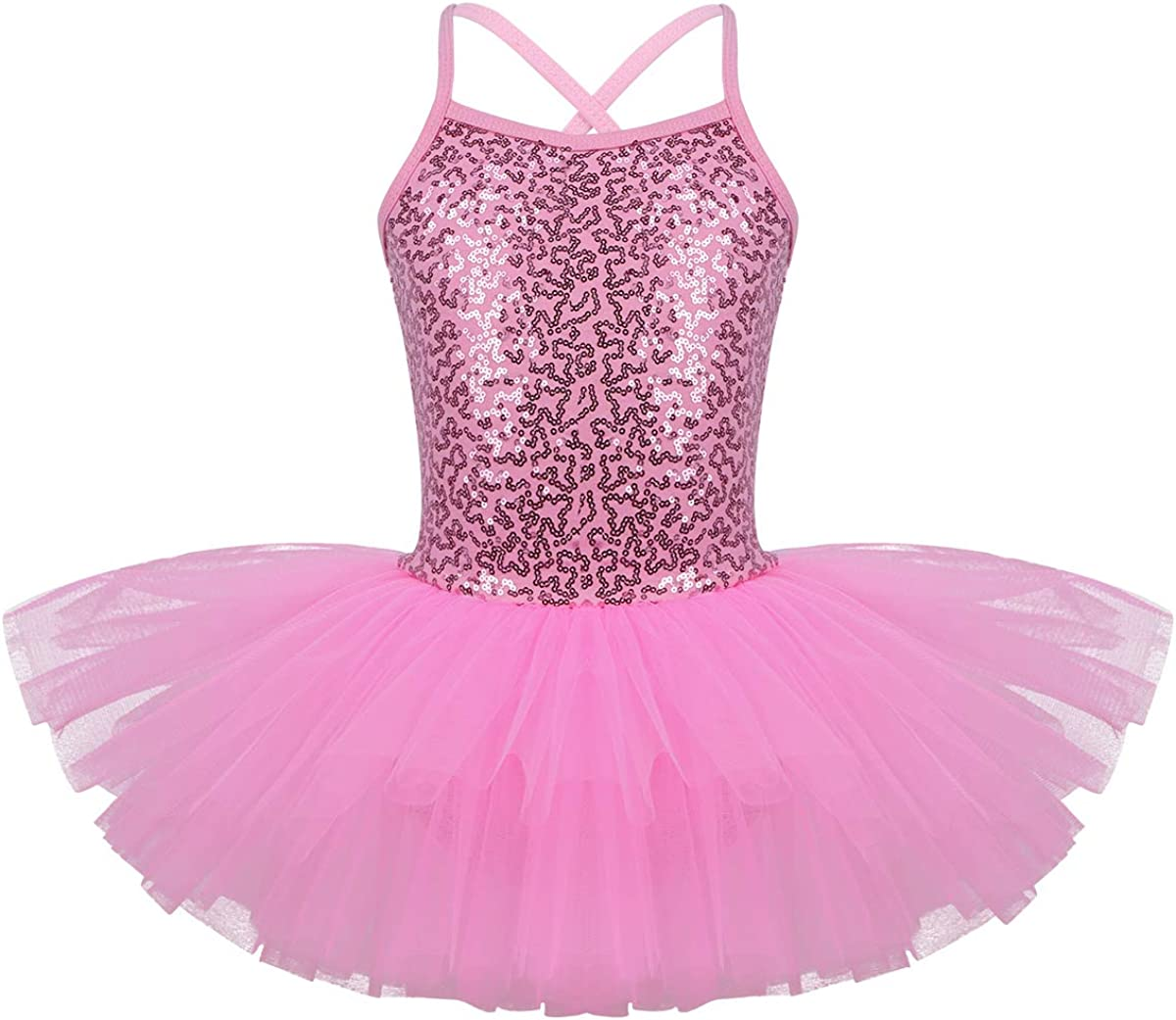 Girls Kids Sequined Ballet Dance Tutu Dress Leotard Gymnastics Bowknot Dancewear