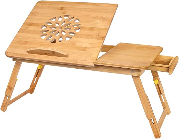 Laptop Desk,Bamboo Adjustable Lap Desks Table, Foldable Bed Desk with Drawer, Breakfast Serving Tray Table, Floor Table for Laptop, Writing,Eating