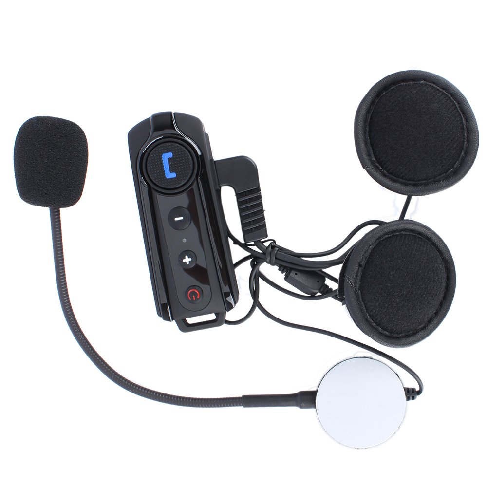 Helmet Communication System,BT-S1 Fodsports 1000 M Bluetooth Motorcycle Intercom Headsets Interphone,FM Radio,MP3 Hands-free,Voice Command(1 pack of hard cable)