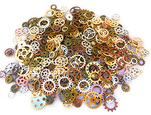 Mello Products 500 PCS Steampunk Gears Antique Assorted Mixed Color Vintage Silver Gold Bronze Jewelry Scrapbooking Charms Wheel Cog DIY Art Random Shapes and Sizes Made