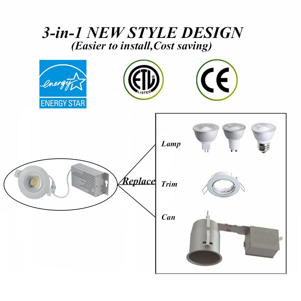 1 Pack TSCDY Gimbal Downlight IC Rated 3 Inch 8W(75W Replacement) Directional Adjustable Dimmable LED Retrofit Recessed Lighting Fixture 2700K Warm White 750LM Ceiling Flexible light With Junction Box
