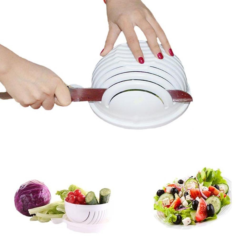 D-Foxes 2017 New Salad Cutter Bowl, Vegetable Cutter Bowl- Make Fresh Salad in 60 Seconds(Chop Fruit Vegetable Quickly)
