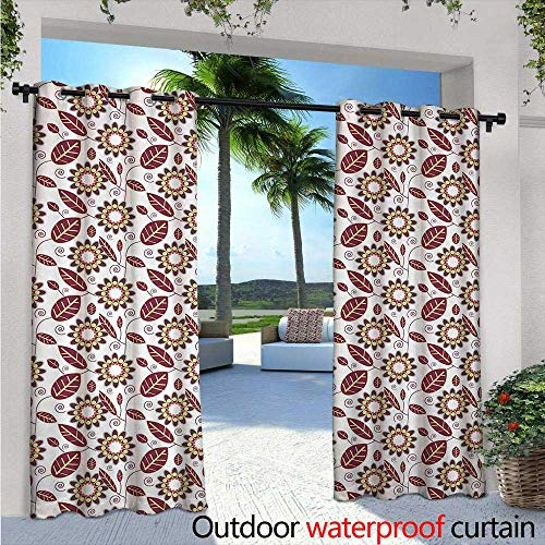 BlountDecor Floral Fashions Drape W72 x L108 Abstract Leafage with Geometric Flowers Spirals and Curved Stripes Outdoor Curtain Waterproof Rustproof Grommet Drape Maroon Coral Pale -