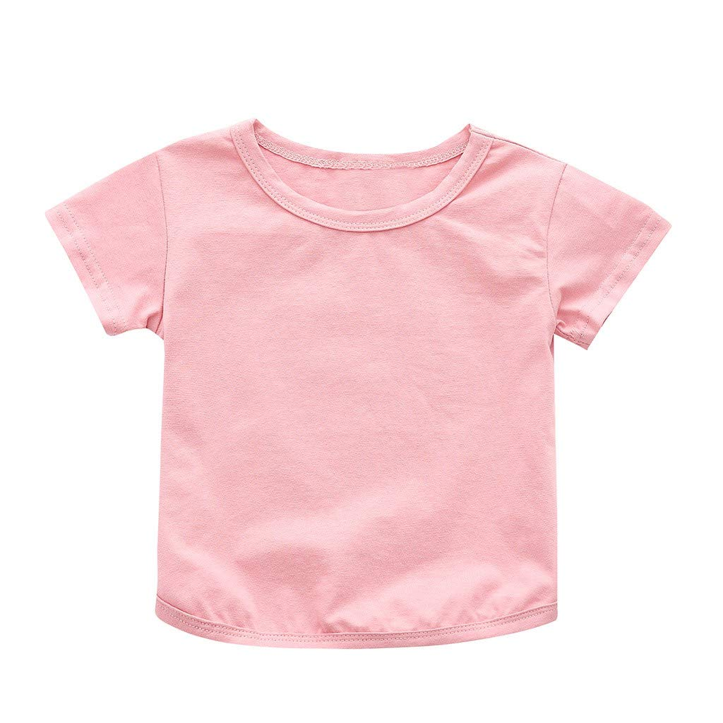 HANANei 1-4 T Baby T-Shirt, Children Baby Boys Girls Kids Short Sleeve Solid Color T-Shirt (100, Pink)
