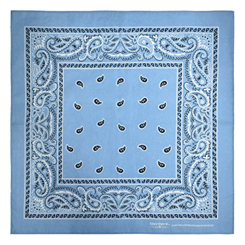 Bandana, 12 Pack 100% Cotton Bandanas for Women Men with Paisley, Flags & More (Light Blue)