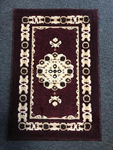 Americana Traditional Doorway Mat Persian Rug Burgundy Design 121 2 Feet X 3 Feet
