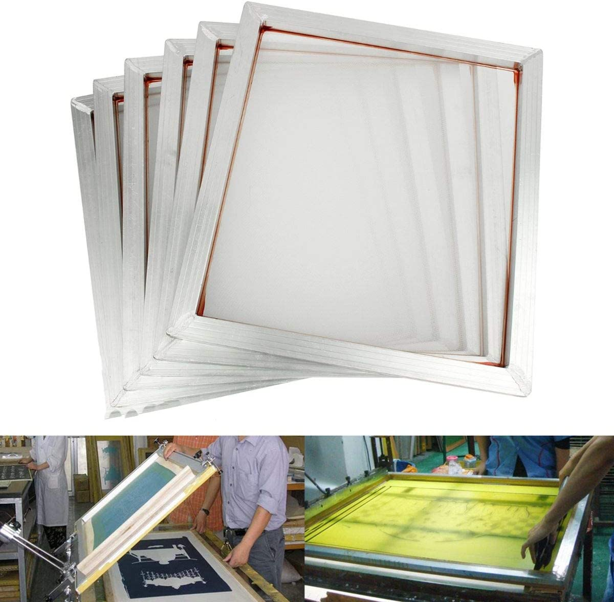 230 100T INTBUYING 6Pcs 15x17 Screen Printing Frame Mesh Pre-Stretched Aluminum Frame Yellow Mesh