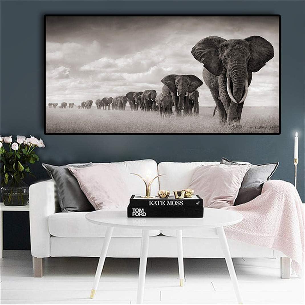 Negro-blanco África Elefantes Animales Salvajes Lienzos, Cuadros e impresiones sin marco Cuadros Cuadros del arte de la pared para la sala de estar,60 * 90cm
