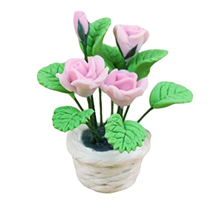 Toys & Hobbies Dolls & Stuffed Toys 1pc Doll House Miniature Pink Clay Rose Flowers Bonquet For Dollhouse Bedroom Living Room Kitchen Decoration Accsssory