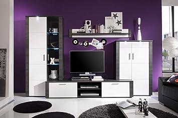 Wohnwand Tess Wohnzimmermöbel Esche Grau Weiß Inkl