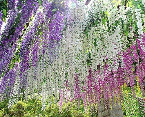 Amazoncom Realistic Romantic Classic Artificial Fake Wisteria Vine Ratta  Silk Flowers For Garden Floral Decoration Diy