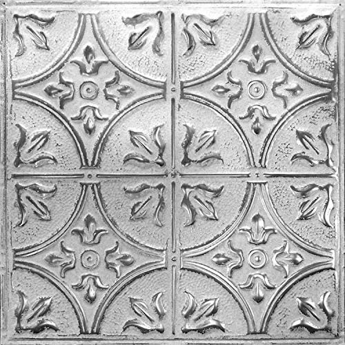 American Tin Ceilings 24x24Nail-Up Tin Ceiling Tile Pattern #2, 5 Pack, Silver Washed White ()