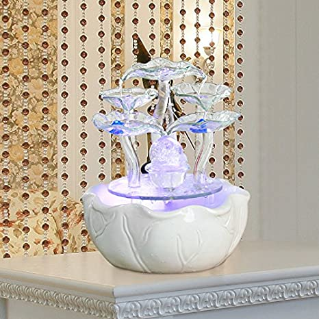 Amazon.com: Ceramic ornaments glass water fountain water waterscape desk collection modern home decoration living room fish tank humidifier,C: Home & ...