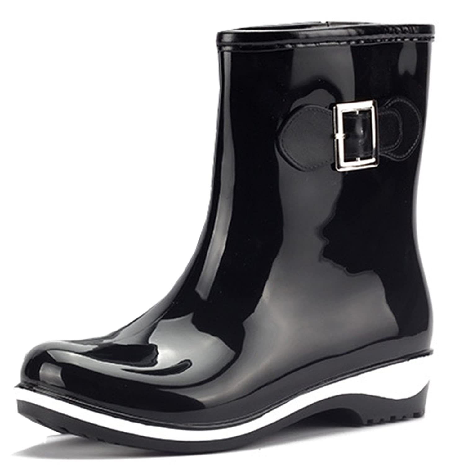 Women's Waterproof Low Heels Short Rubber Boots Rain Wellies Wellington Shoes