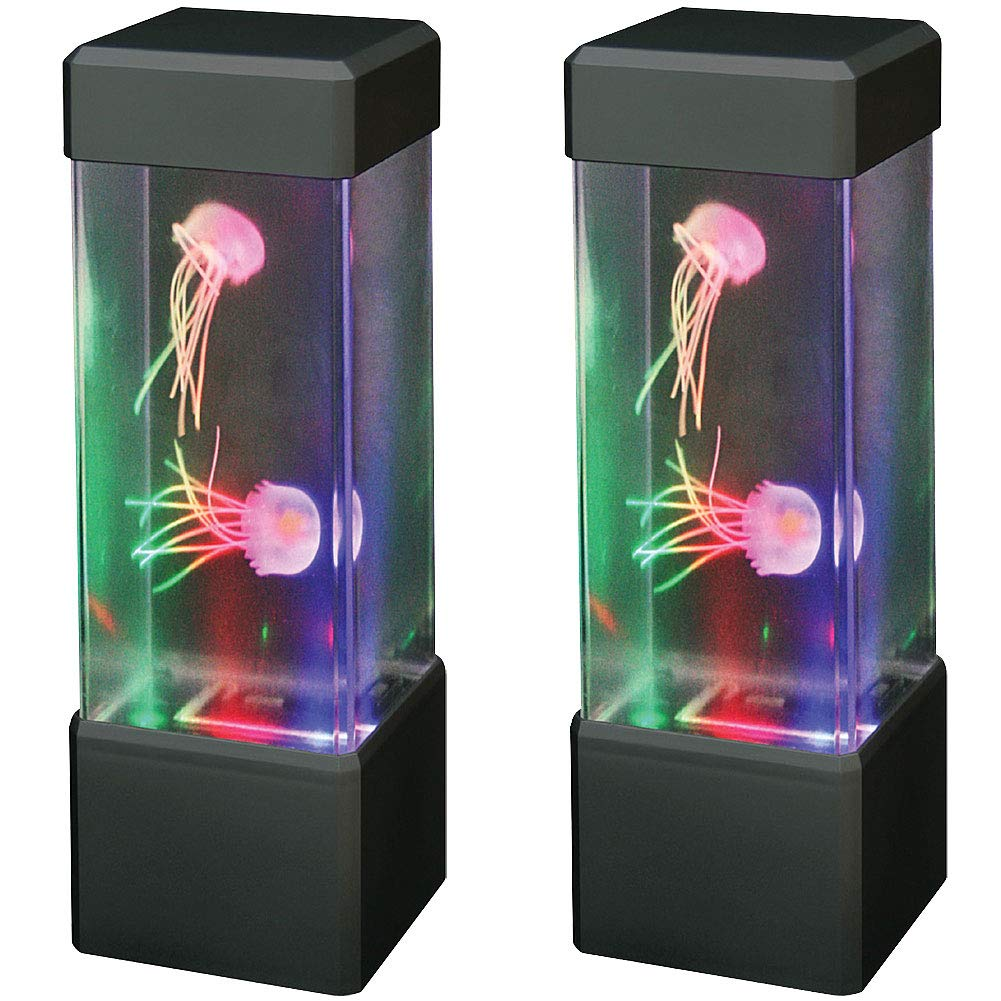 Warm Fuzzy Toys (Set/2) Jelly Fish Tower w/Multi-Colored Lights Soothing Glow Home & Office