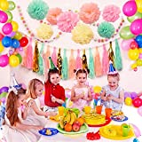Blulu 26 Pieces Paper Tassels Paper Pom Dots Paper Garland for Baby Shower, Weddings and Birthday Party Decorations