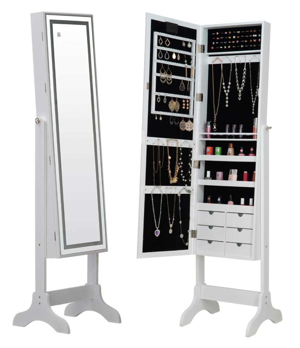 Fineboard FB-JC06-W LED Jewelry Cabinet Organizer with Mirror & 6 Small Drawers, White by Fineboard
