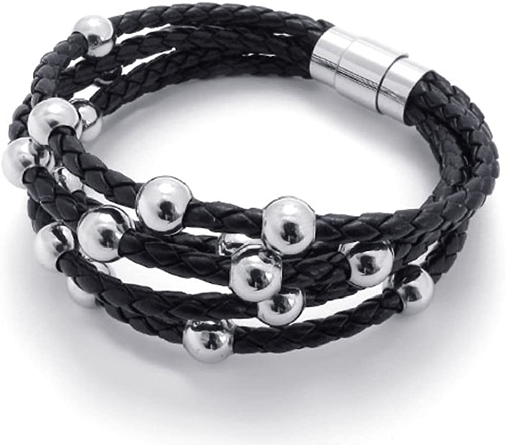 TEMEGO Jewelry Mens Leather Braided Bracelet,Stainless Steel Clasp,Black Silver-7.5,8,9