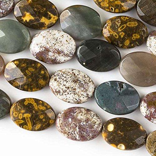 Cherry Blossom Beads Ocean Jasper Beads 10x14mm Faceted Oval - 8 Inch Strand