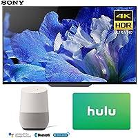 Sony XBR-65A8F 65-Inch 4K Ultra HD Smart BRAVIA OLED TV (2018 Model) with Google Home (White) + Hulu $50 Gift Card