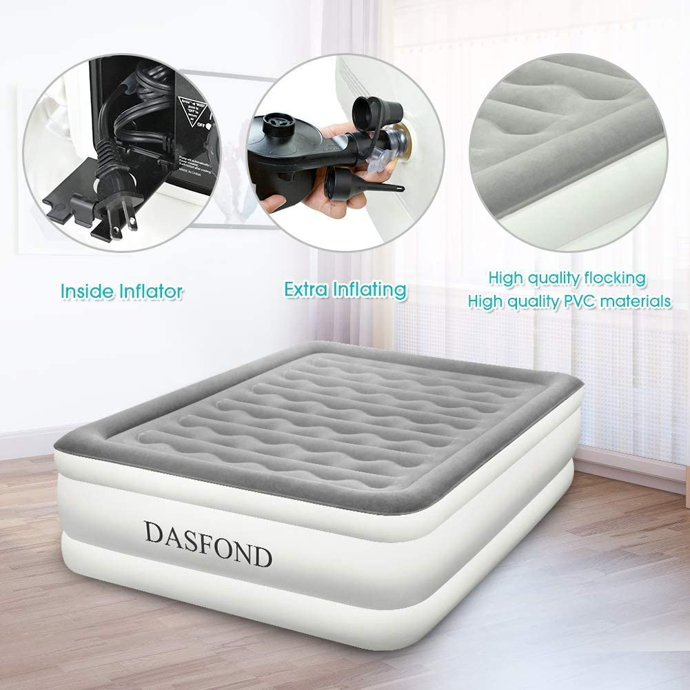 Height 22, Size 80/×60/×22 Premium Elevated Inflatable Air Bed with Flocked Top DASFOND Queen Air Mattress with Built-in Pump Standard Series Rest Raised Airbed for Home//Travel//Camping