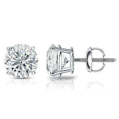 ee53ba6fa Amazon.com: 14k White Gold Round Diamond Stud Earrings 4-Prong Basket-Screw  Backs (1/4 cttw, H-I Color, I1-I2 Clarity): Jewelry