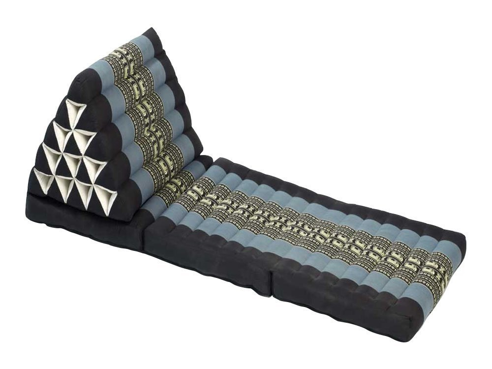 Foldout Triangle Thai Cushion/Floor Lounger, 67x21x3 inches, Kapok, Black Blue by Thailand