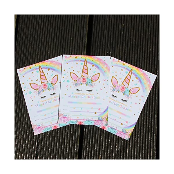 AMZTM Magical Unicorn Party Invitations with Envelopes for Kids Birthday Baby Shower Unicorn Party Supplies 20 Pieces of Fill-in Blank Invitation Card Kit 5
