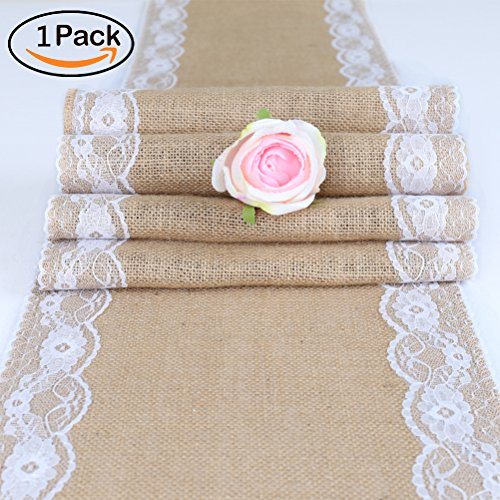 TRLYC Pack of One 12x108-Inch Burlap and Lace Table Runner Country Rustic Barn Wedding Decorations, Farmhouse Kitchen Decor, Baby & Birdal