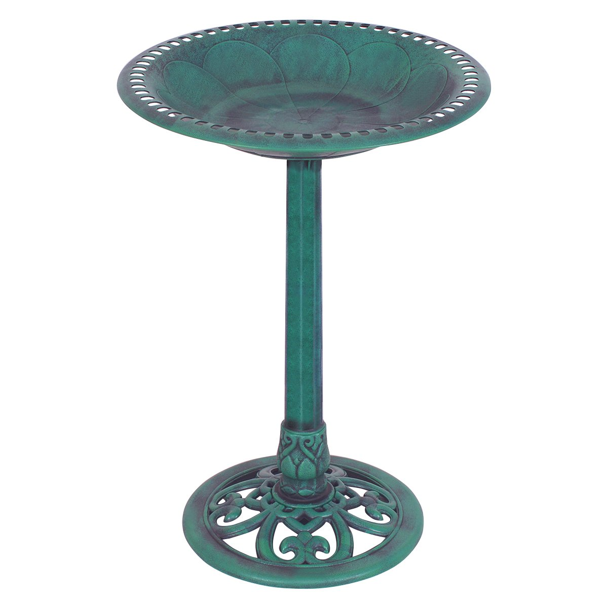 Giantex Pedestal Bird Bath Feeder Freestanding Outdoor Garden Yard Patio Decor (Green)