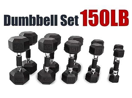 f3eb1d3d2 Amazon.com   CAP Barbell 150 280 550 LB PVC-Coated Hex Dumbbell Set ...
