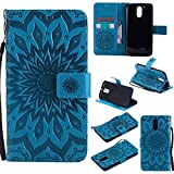 For Motorola Moto G4 Case [Blue],Cozy Hut [Wallet Case] Magnetic Flip Book Style Cover Case ,High Quality Classic New design Sunflower Pattern Design Premium PU Leather Folding Wallet Case With [Lanyard Strap] and [Credit Card Slots] Stand Function Folio Protective Holder Perfect Fit For Motorola Moto G4 (5,5 Inch) - blu