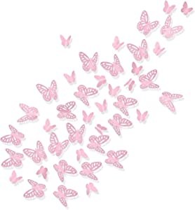Luxbon 100Pcs 3D Vivid Cardboard Paper Hollow Butterfly Matt Effect Wall Stickers Art Crafts Decals Butterflies Home DIY Improvement Decor Mural Pink