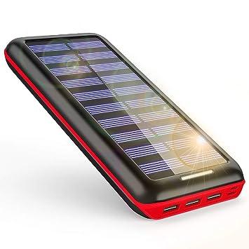 Gnceei Solar Power Bank 24000mAh 3 Puertos de Salida y ...