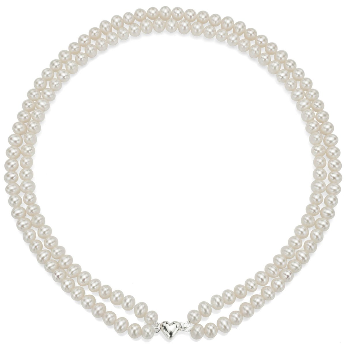 Heart Shape Sterling Silver 2-rows 6-6.5mm White Freshwater Cultured High Luster Pearl Necklace, 17'' by La Regis Jewelry (Image #1)