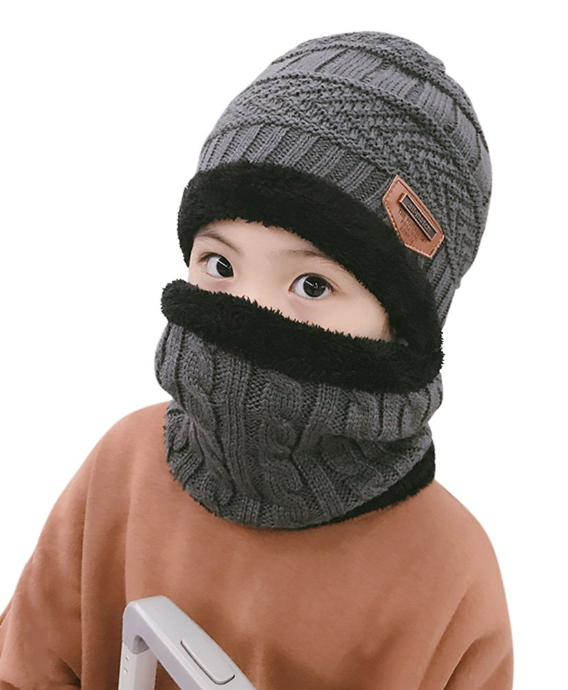 Winter Beanie Scarf for Boys Girls (5-14 Years) Warm Snow Knit Hats Windproof HINDAWI Circle Scarf Kids Slouchy Skull Cap Grey by HINDAWI