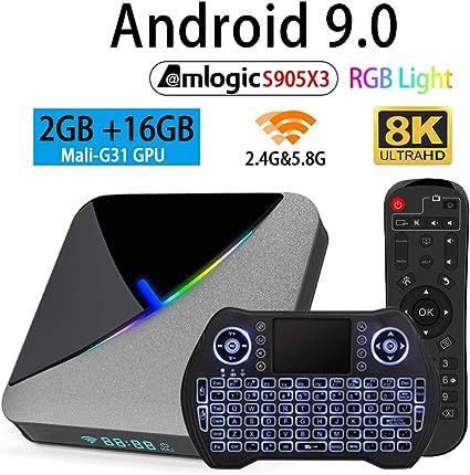 HK1max Android 9.0 Pie 2+16G Smart TV BOX Quad Core 4K Media MINI PC USB 3.0 3D