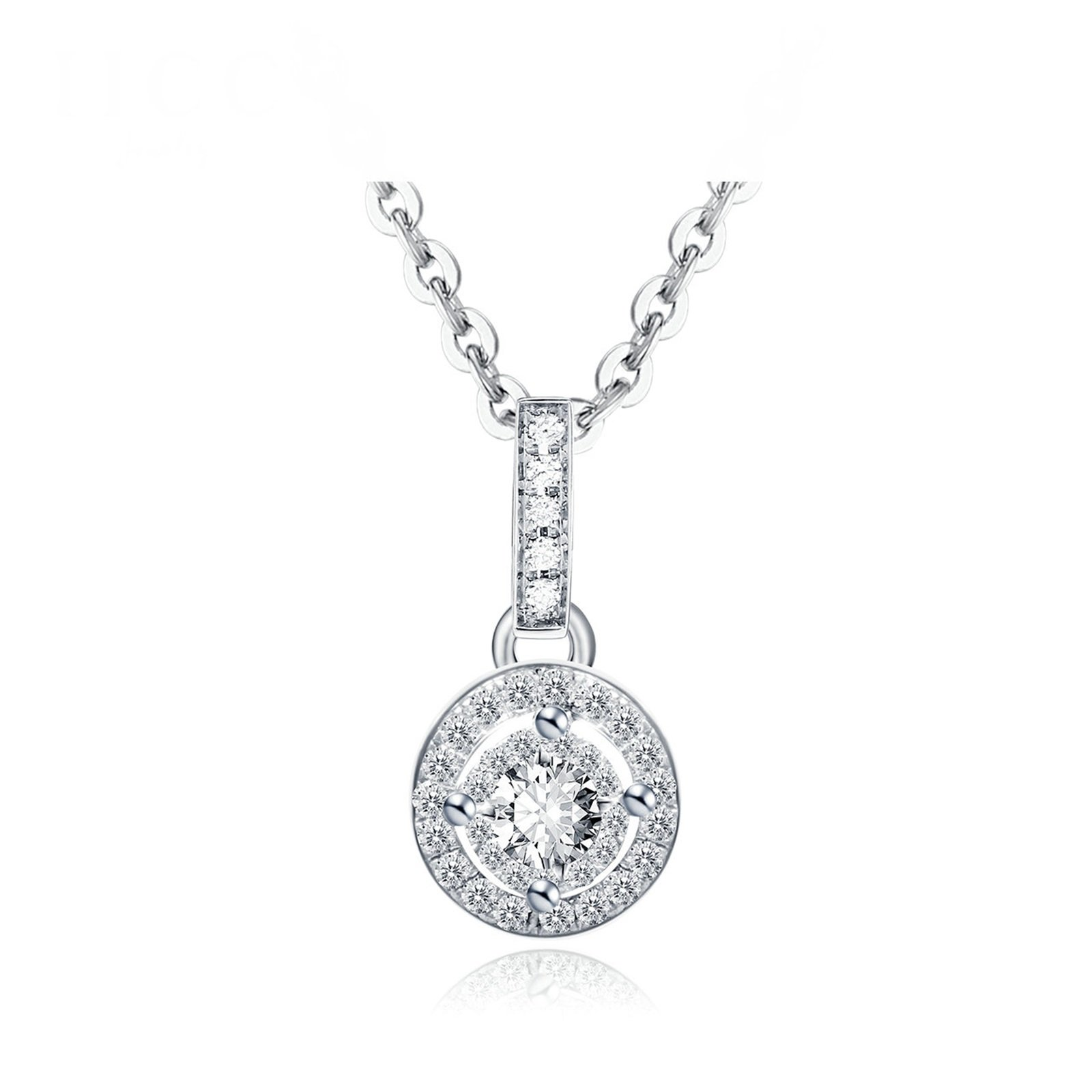 Daesar 18K White Gold Necklace For Women Hollow Round Four Claw Diamond Necklace White Chain Length:45CM
