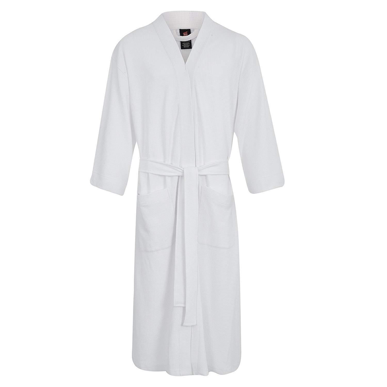 Hanes Unisex Waffle Kimono Robe - Extra Soft 05071-WHITE/OS